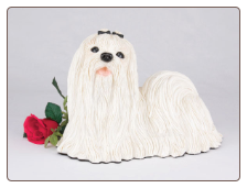 Maltese Dog Figurine Garden Pet  Urn