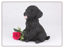Poodle, Miniature Black Dog Figurine Garden Pet  Urn
