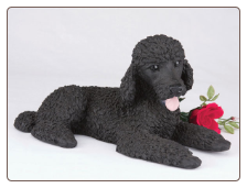 Poodle, Standard Black Dog Figurine Garden Pet  Urn