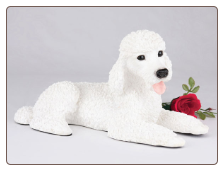 Poodle, Standard White Dog Figurine Garden Pet  Urn