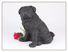 Pug - Black Dog Figurine Garden Pet Urn