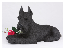 Schnauzer, Ears Up, Black - Dog Figurine Garden Pet  Urn