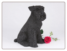 Schnauzer, Ears Down, Black - Dog Figurine Garden Pet  Urn