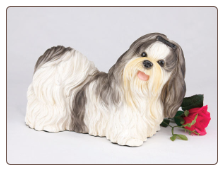 Shih Tzu, Black & White - Dog Figurine Garden Pet  Urn
