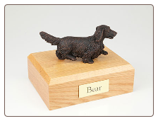 Dachshund, Long-Haired Bronze Dog Breed Figurine Urn