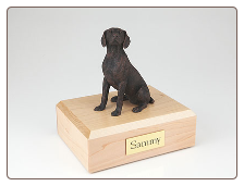 Weimaraner Bronze Dog Breed Figurine Urn