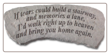 Garden Memorial Stone Bench - 'If Tears Could Build . . . . . .'