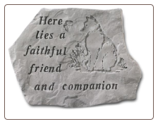 Garden Accent Rock - 'Here Lies a Faithful Friend and Companion'  Dog Graphic