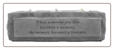 "Stone Memorial Candle - ""When someone you love becomes a memory..."" - 3 light"