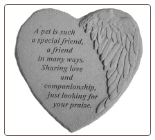 "Angel Winged Heart Memorial Stone - ""A Pet Is Such A . . . . ."""