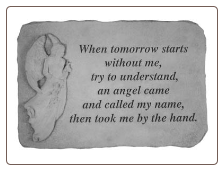 Angel Memorial Stones - When Tomorrow Starts Without Me