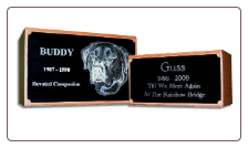 Custom Engraved Photographic Redwood Pet Urns