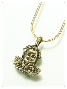 White Bronze or Bronze Cherub Keepsake Pendant