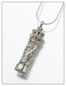 Sterling Silver Antique, Sterling Silver Chromate, 14K White Gold Cylinder w/Glass Insert Keepsake Pendant