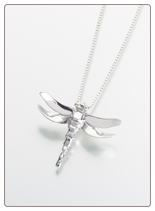 Sterling Silver, Gold Vermeil, 14K White or Yellow Gold Dragonfly Keepsake Pendant Urn