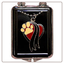 Tri-Color Enamel Memorial Paw Pendant or Paw Key Chain