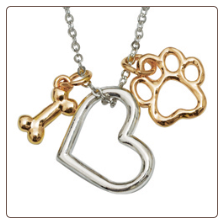 Dog Charm Necklace - Heart with Bone & Paw
