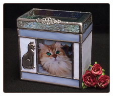 Stained Glass Beveled Top Cat Urn