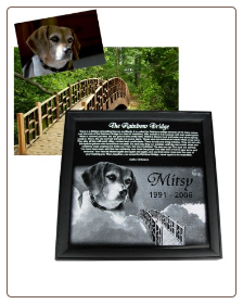 Rainbow Bridge Engraved Marble Pet Memorial Plaque