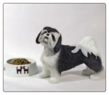 Shih Tzu Black & White Lifesize Dog Figurine Urn