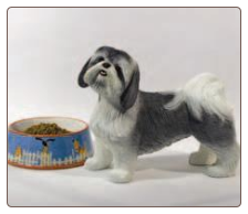 Lifesize Gray & White Shih Tzu Dog Figurine Urn