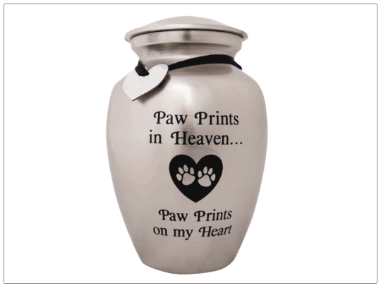 Paw Prints in Heaven Aluminum Pet Urn