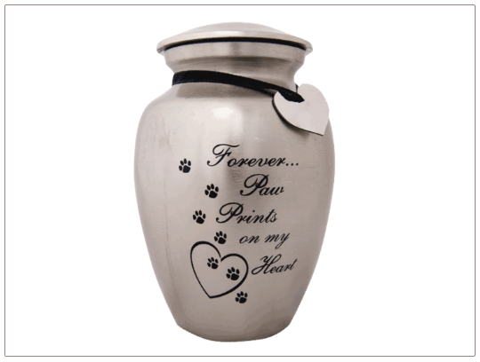 Paw Prints on my Heart Aluminum Pet Urn