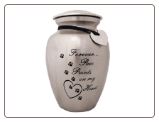 Aluminum Paw Prints On My Heart Pet Urn