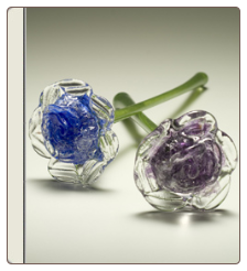 Hand Blown Glass Flower Keepsake Urn & Memorial