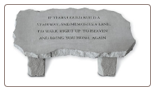 Large Stone Garden Bench with Poem - 'If Tears Could Build . . . . .'