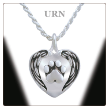 """In the Arms of an Angel"" Sterling Silver Pet Loss Keepsake Urn Pendant / Necklace"