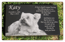 Premium Black Granite Etched Photo Pet Memorial