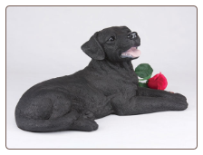 Labrador Retriever, Black - Dog Figurine Garden Pet  Urn