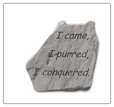 Garden Accent Rock with Quote - 'I Came, I Purred . . . . . . '