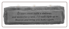 "Stone Memorial Candle - ""If tears could build a stairway..."" - 3 light"