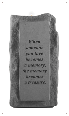 "Stone Memorial Candle - ""When someone you love becomes a memory . . ."" - single light, tall base"