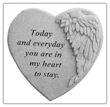 "Angel Winged Heart Memorial Stone - ""Today and Everyday . . . ."""