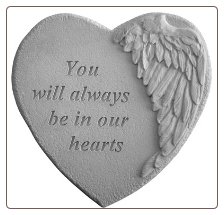 "Angel Winged Heart Memorial Stone - ""You Will Always . . . ."""