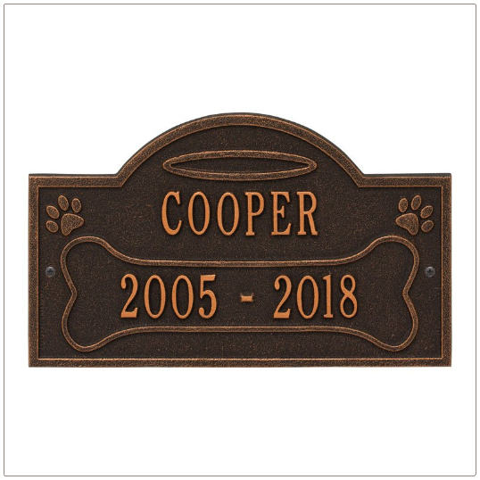 Oil Rubbed Bronzed Dog Memorial Wall Plaque