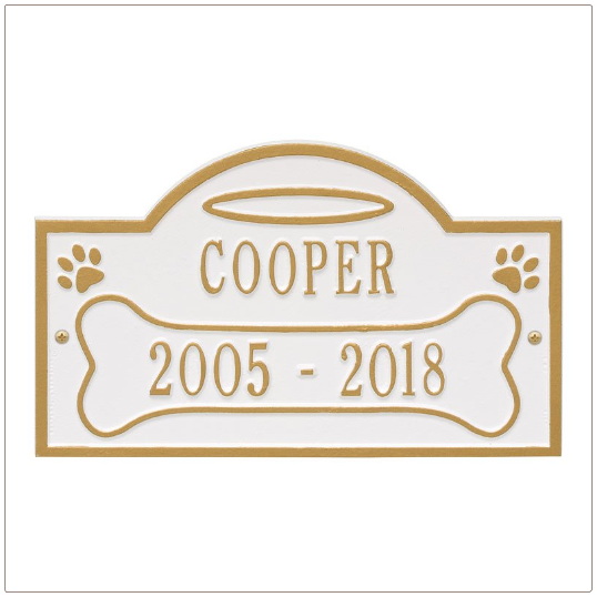 White Gold Memorial Plaque for Dog
